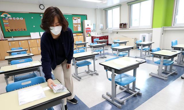 韩中小学陆续开学 老师准备迎接学生返校