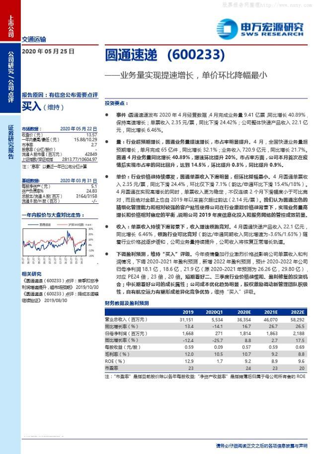[중국 마이종목]택배 시장 호조에 위안퉁쑤디 점유율 쑥