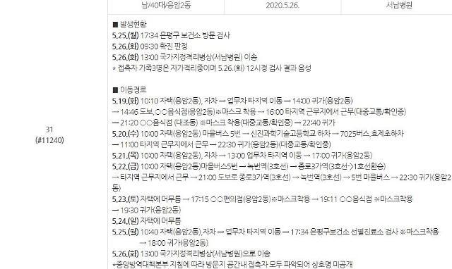 """종로구청 """"은평구 40대 확진男 19일~26일 연지동·원남동 등 방문"""""""