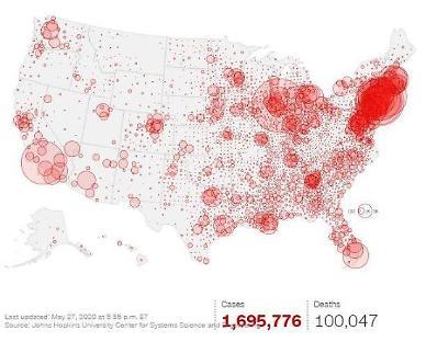 [코로나19] 미국 사망자 10만명 넘어..비극적인 이정표