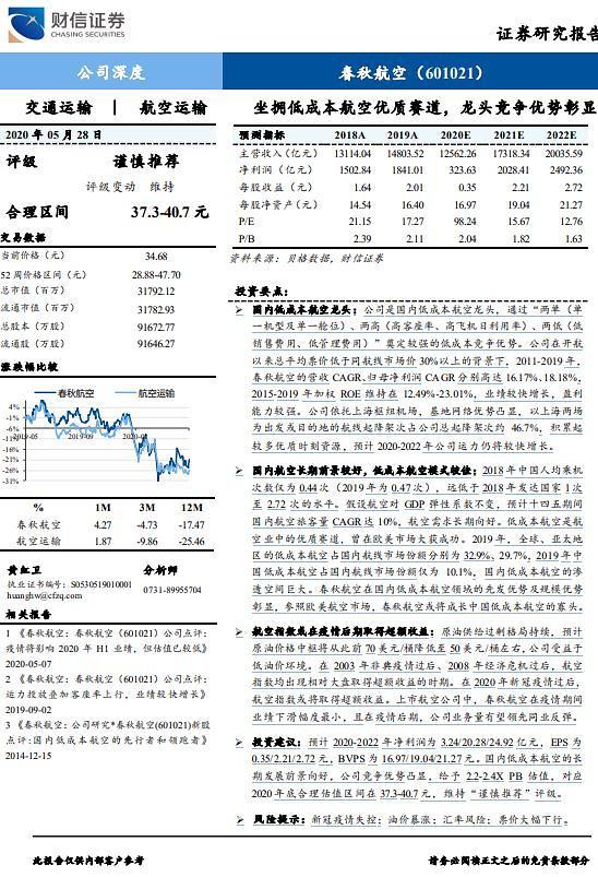 [중국 마이종목]저가 항공사 '춘추항공', 경쟁력 강화중.. 투자 긍정적