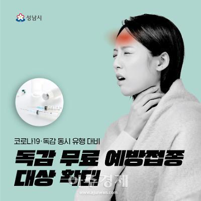 성남시, 코로나19·독감 유행대비..독감 무료접종 대상 확대