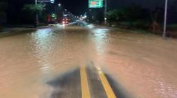 .强风雨天气来袭 韩多地遭遇水灾.