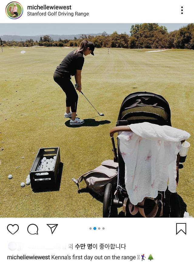 韩裔高尔夫球手魏圣美产后10天回归训练场