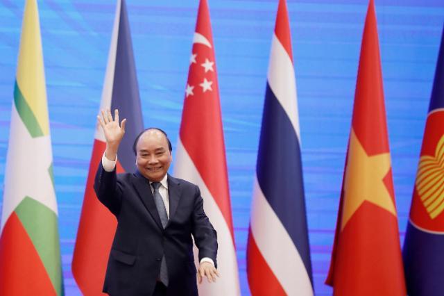 지난달 26일 베트남 하노이에서 제36차 동남아시아국가연합(ASEAN·아세안) 화상 정상회의를 주재한 응우옌 쑤언 푹 베트남 총리.[사진=EPA·연합뉴스]