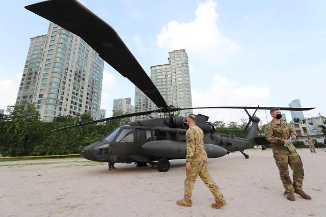 美军直升机迫降汉江公园