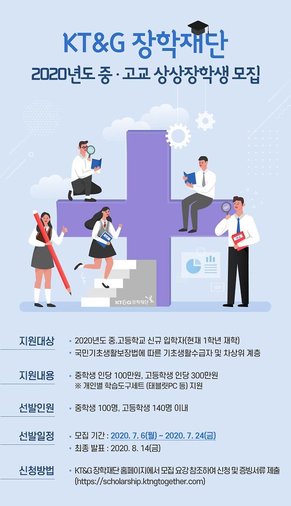 KT&G장학재단, 교육 소외계층 중·고교 상상장학생 선발 시작