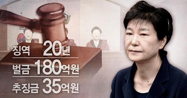 朴槿惠干政受贿案重审获刑20年被减刑10年