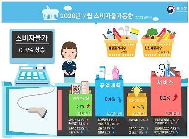 7월 소비자물가지수 0.3% 상승… 저물가 기조는 이어져