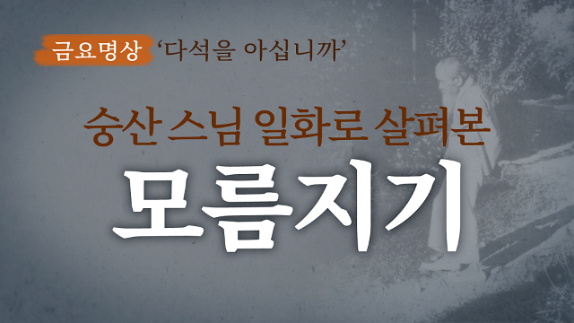 [금요명상] 숭산스님의 일화로 살펴본 다석의 '모름지기'