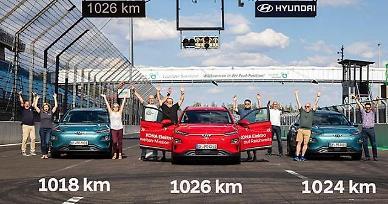 Hyundais KONA electric subcompact SUVs set new range record of over 1,000 km