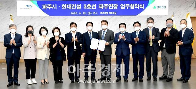 파주시, 현대건설 3호선 파주연장 건설 사업 업무협약식 개최