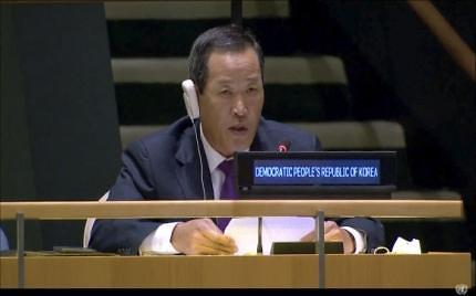 """김성 북한 유엔대사 """"전쟁 억제할 힘 가져야 평화 지킬 수 있다"""""""