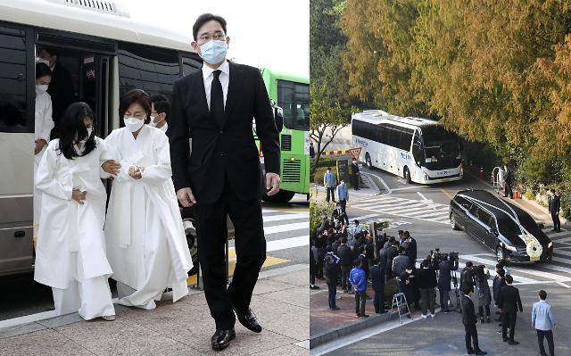 [슬라이드 뉴스] 영결식부터 발인까지…침울한 홍라희 이재용 이부진 이서현