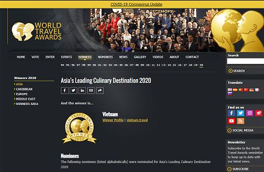 Việt Nam chiến thắng nhiều hạng mục của World Travel Awards