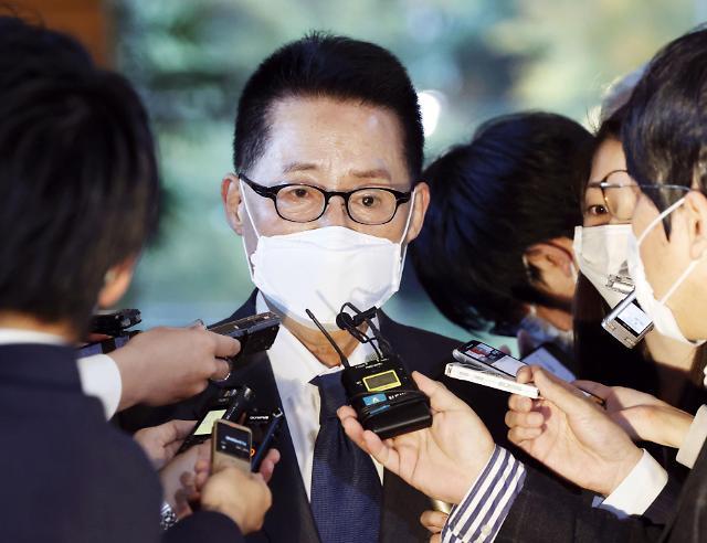 [포토] 스가 일본 총리 만나고 나온 박지원 국정원장