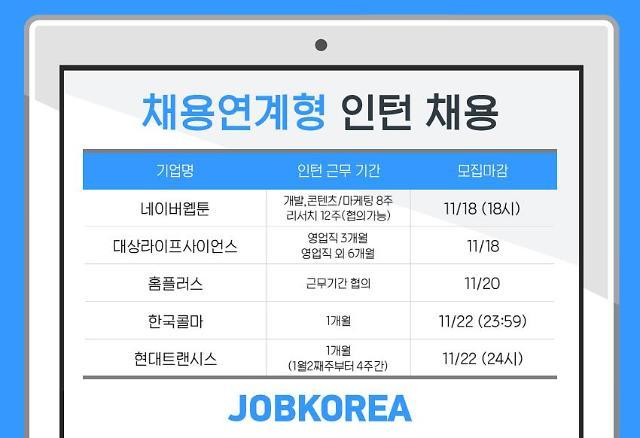 네이버웹툰, 한국콜마 등 채용 연계형 인턴 모집