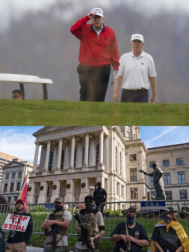 [슬라이드 뉴스] 트럼프 대선 불복 트윗 후 G20 나와 골프 치러...지지자들은 시위