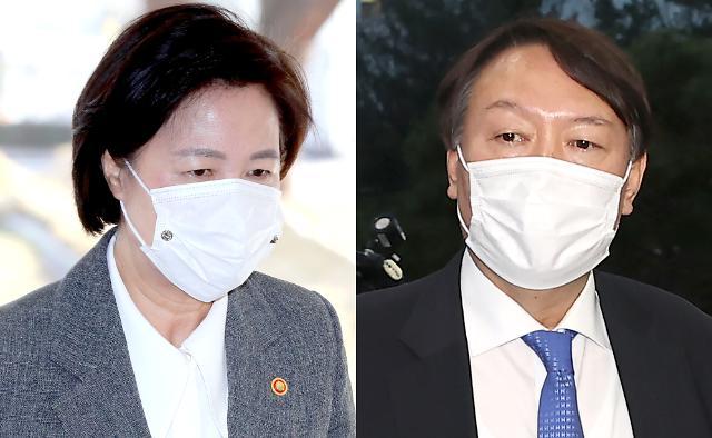 [포토] 추미애 법무부 장관과 윤석열 검찰총장