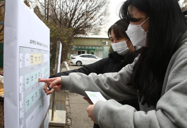 [포토] 시험장 위치 확인하는 수험생들