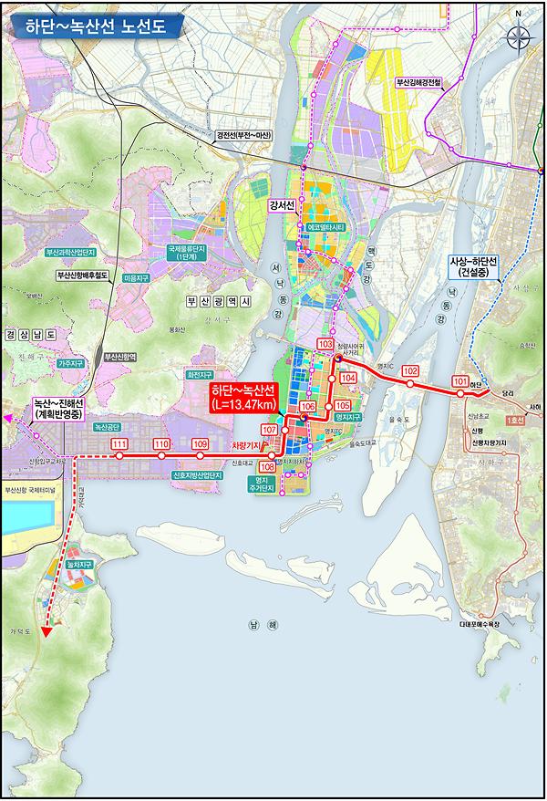 부산시, 도시철도 하단~녹산선, 예비타당성조사 대상사업 선정...교통체증 뻥