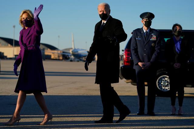 [포토] 취임 하루 앞 워싱턴 입성한 바이든 당선인 부부