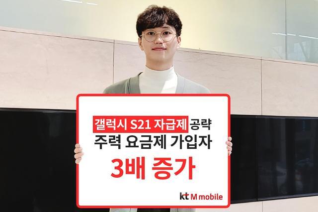 갤럭시S21 자급제 뜨니 알뜰폰도 인기...KT엠모바일, 가입자 3배 증가