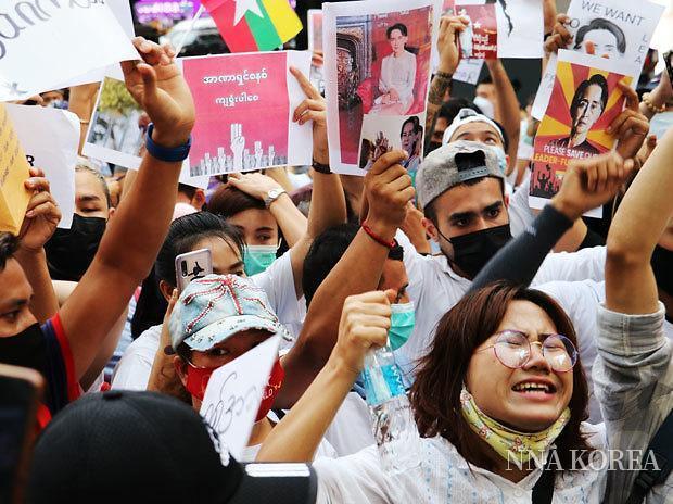 [NNA] 미얀마 쿠데타에 항의, 방콕에서 집회