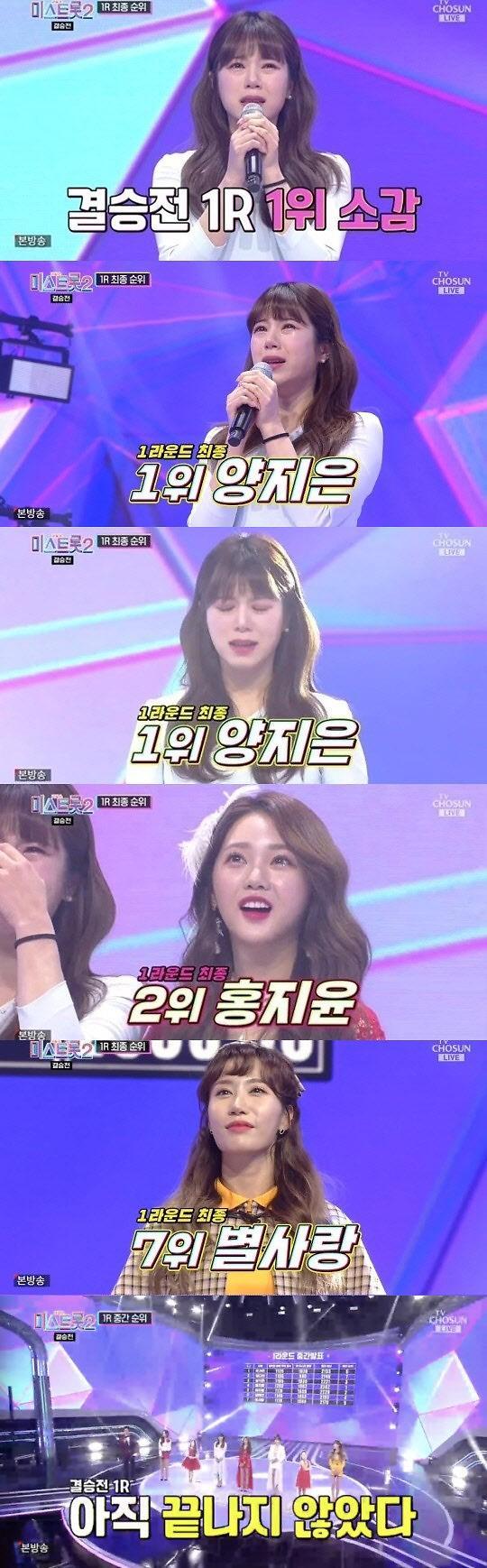 [간밤의 TV] 미스트롯2 대이변…결승 1라운드 양지은 1위, 눈물 펑펑