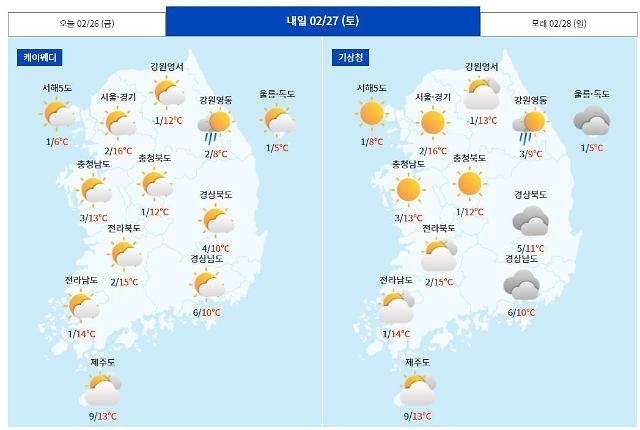 [내일날씨] 봄기운 가득 낮 최고 17도… 오전까지 비