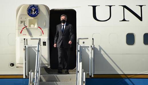 美国国务卿布林肯抵达韩国