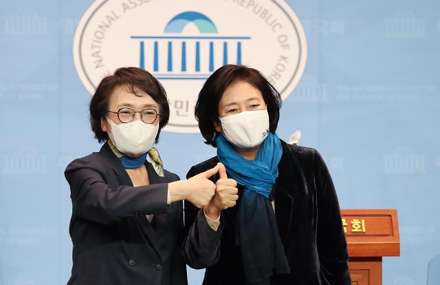 [2021재보궐포토] 박영선, 여권 서울시장 단일후보로…김진애에 승리