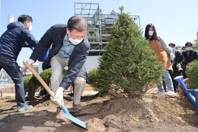 [포토] 나무 심는 문재인 대통령