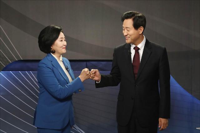 [4‧7 재보선] 토론회 참석한 박영선-오세훈 서울시장 후보