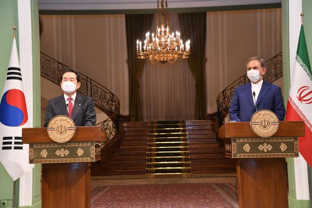 """이란 부통령, 정 총리 만나 """"한국, 동결자금 문제 조속히 해결하라"""""""