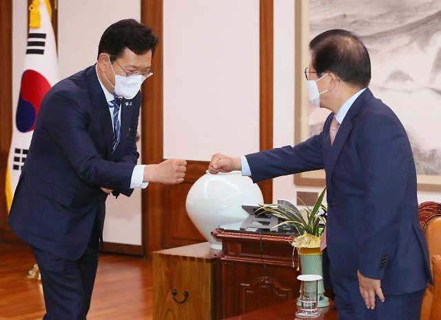 """박병석 만난 송영길 """"여야 합의로 개혁 통과되도록 중재하고 이끌어주길"""""""