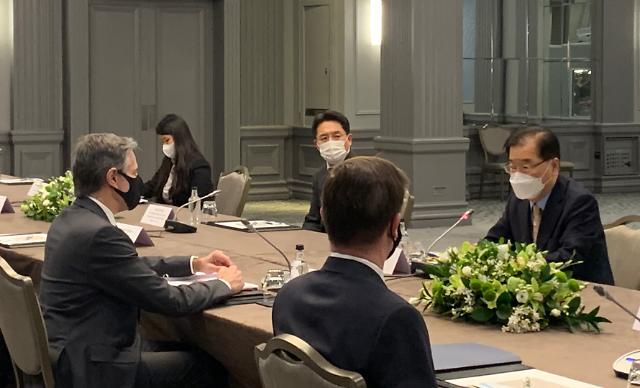 정의용, 내일 美블링컨·日모테기와 회동...바이든표 대북정책 이행 논의