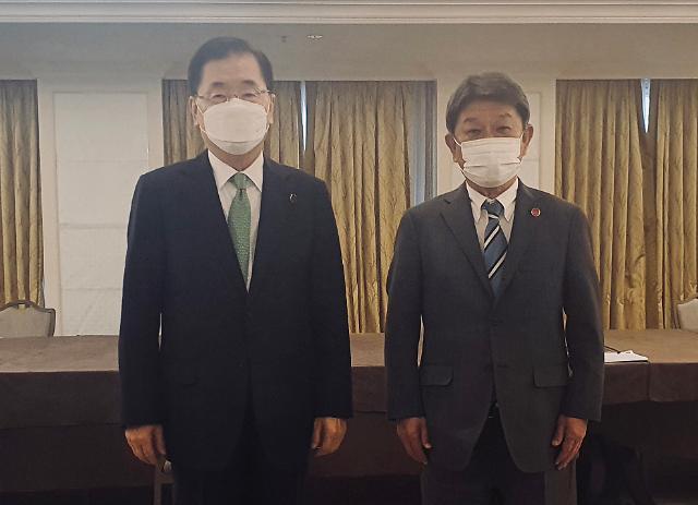 [3각 공조 회복 시동] ②정의용·모테기, 드디어 만났지만...위안부·징용·후쿠시마 첩첩산중