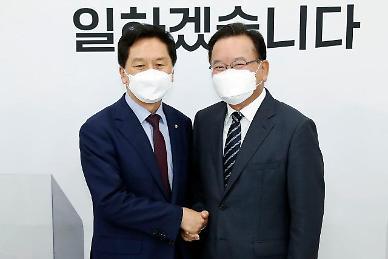 김기현·김부겸, 싸늘한 첫만남...靑 인사라인 대폭 경질 건의 요구까지