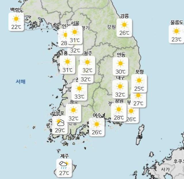 [내일 날씨] 전국 30도 안팎…이른 더위 기승