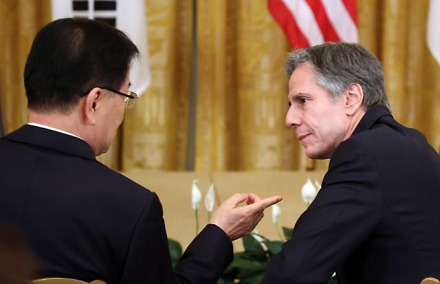 정의용, 블링컨과 영국서 회담...한반도 비핵화 협력 재확인