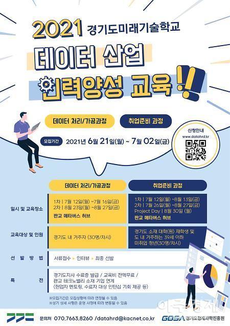 경기도, 미래기술학교 데이터 산업인력 양성과정 교육생 170명 모집