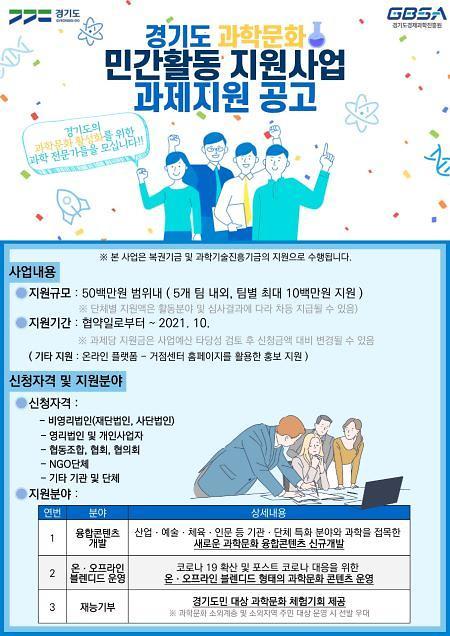 경기도, 과학문화 콘텐츠 개발·제작 지원 추진기관 5팀 모집