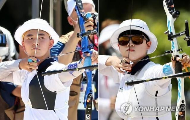 [도쿄올림픽 2020] 김제덕·안산, 양궁 혼성 단체전 8강 안착...금메달 시동