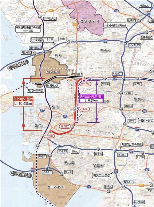 인천시, 인천대로 '공단고가교~서인천IC' 지하화사업 등 5개 도로 개설 탄력 전망