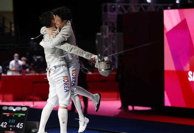 [도쿄올림픽 2020] 한국 남자 펜싱, 금메달까지 이탈리아만 남았다