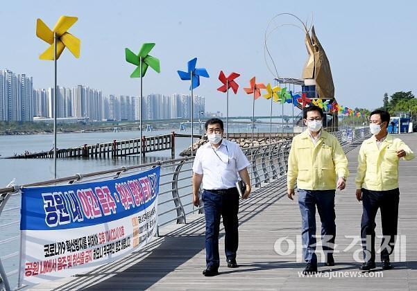 박남춘 인천시장, 대형마트·어시장 등 방역현장 점검