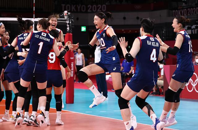 [도쿄올림픽 2020] '한국배구, 일본에 역전승' (포토)