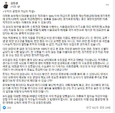 """김두관 """"이재명 전 경기도민 재난지원금 검토 발언은 심각한 편가르기"""""""