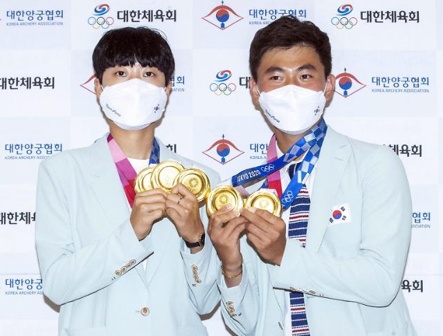 [도쿄올림픽 2020] 안산·김제덕 금메달이 다섯개! (포토)